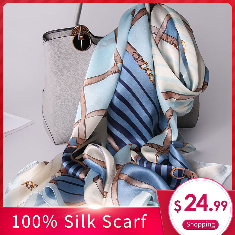 100% Real Silk Scarf for Ladies Luxury Print Hijab Pashmina Fantastic All Match Silk Shawls and Wraps Women Neckerchief Stoles