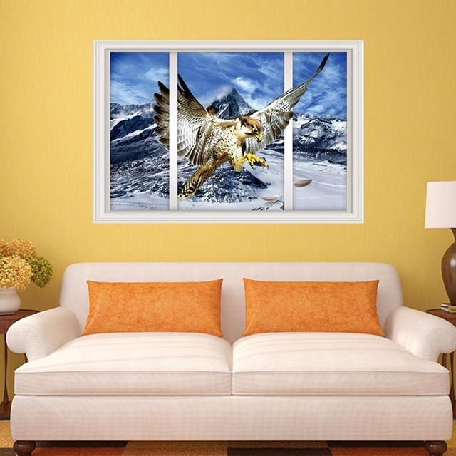 Snow Mountain & Eagle Wall Sticker Self adhesive Wallpaper Fake ...