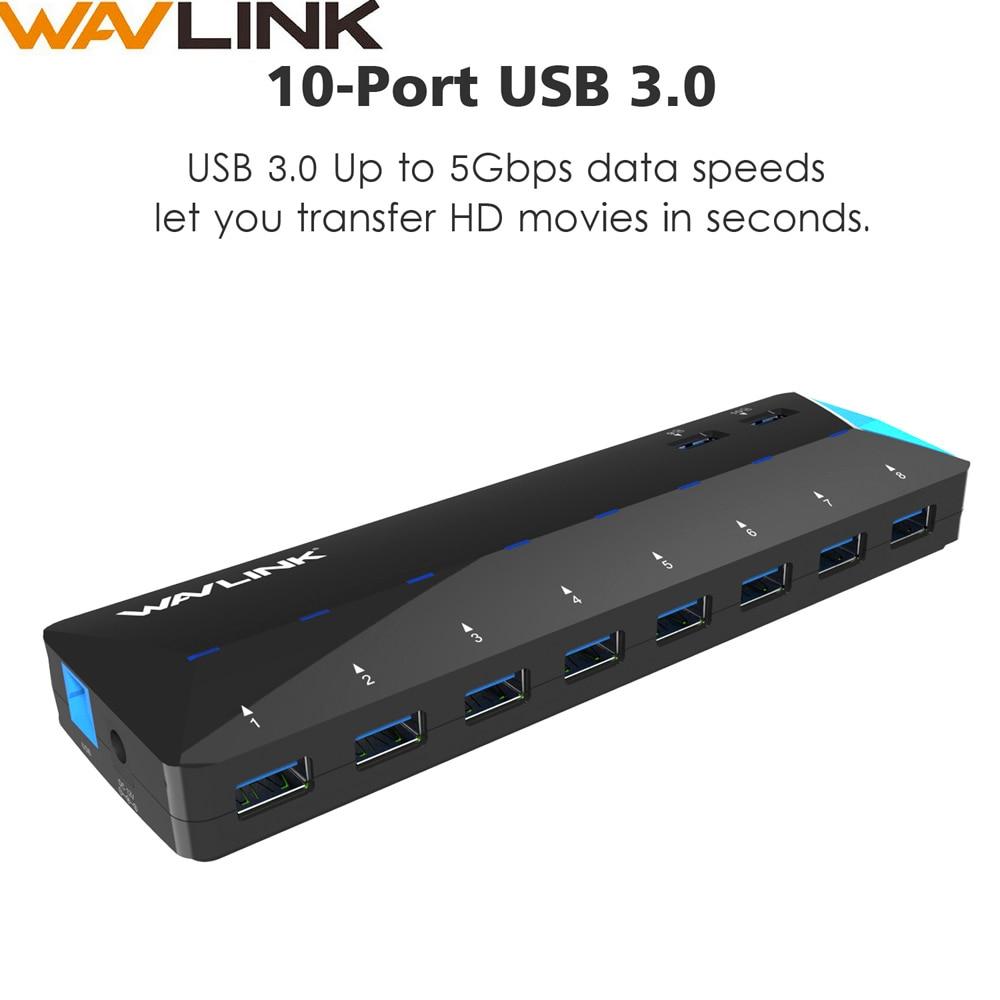 Wavlink 10 Ports USB 3.0 Hub multi-fonction charge rapide Super vitesse 5 Gbps avec 12 V 5A adaptateur secteur 48 W pour ordinateur de bureau portable