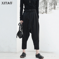 [XITAO] New Arriaval Women Summer 2018 Korea Fashion Burron Fiy Casual Ankle length Pants Female Solid Color Harem Pants GWY2407