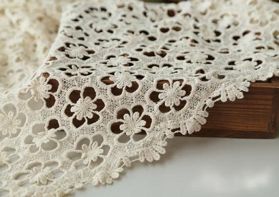cream cotton lace fabric, crochet hollow out daisy flower fabric for girl / women dress supplies