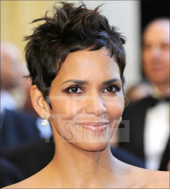 Halle Berry Celebrity Brazilian Human Hair Short Hairstyle Natural ...