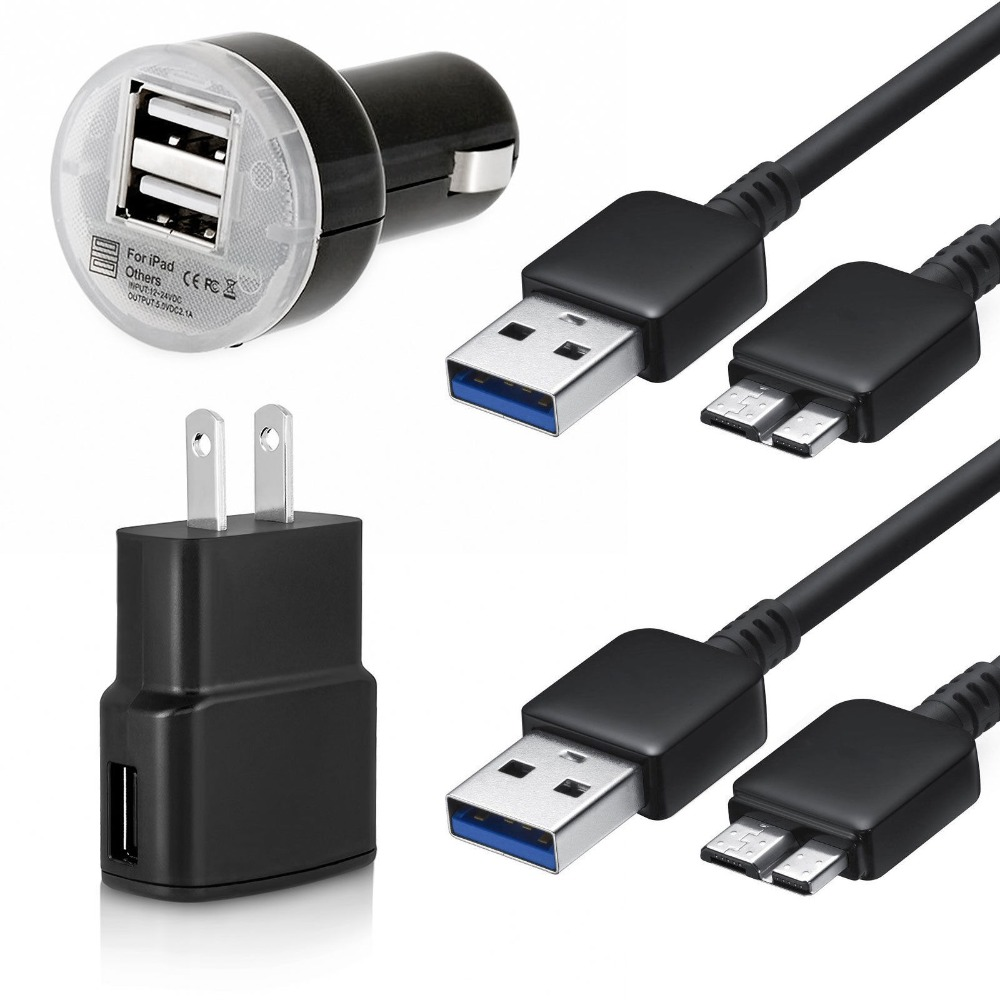 US hot sell 4 PCS a set! 2 pcs Data Sync Cable+ 1 pcs Wall AC Adapter+ 1 pcs Car Charger For Samsung Galaxy Note 3 S5