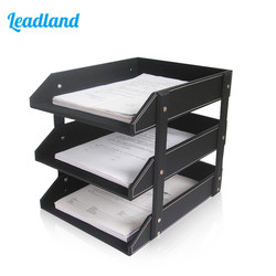 Office Supplies 3 Layers PU Leather Desk A4 Document File-Tray Rack File Shelf Frame Paper file Organizer Home Magazine tray