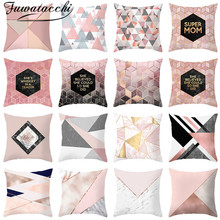 Fuwatacchi Pink Cushion Cover Geometric Nordic Diamond Wave Throw Pillow Decorative Pillowcases for Sofa Home Chair