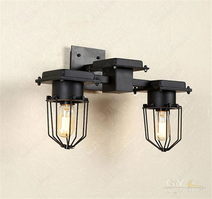 American industrial loft retro wall lamp aisle stairs, wrought iron creative personality living room bedroom bedside lamp sonces