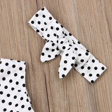 Kid Girls Polka Dot Tops Headband Bow 3PCS Clothes