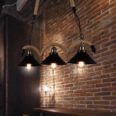 Loft Style Iron Hemp Rope Droplight Industrial Edison Vintage Pendant Light Fixtures Indoor Lighting Dining Room Hanging Lamp iwhd loft style round glass edison pendant light fixtures iron vintage industrial lighting for dining room home hanging lamp
