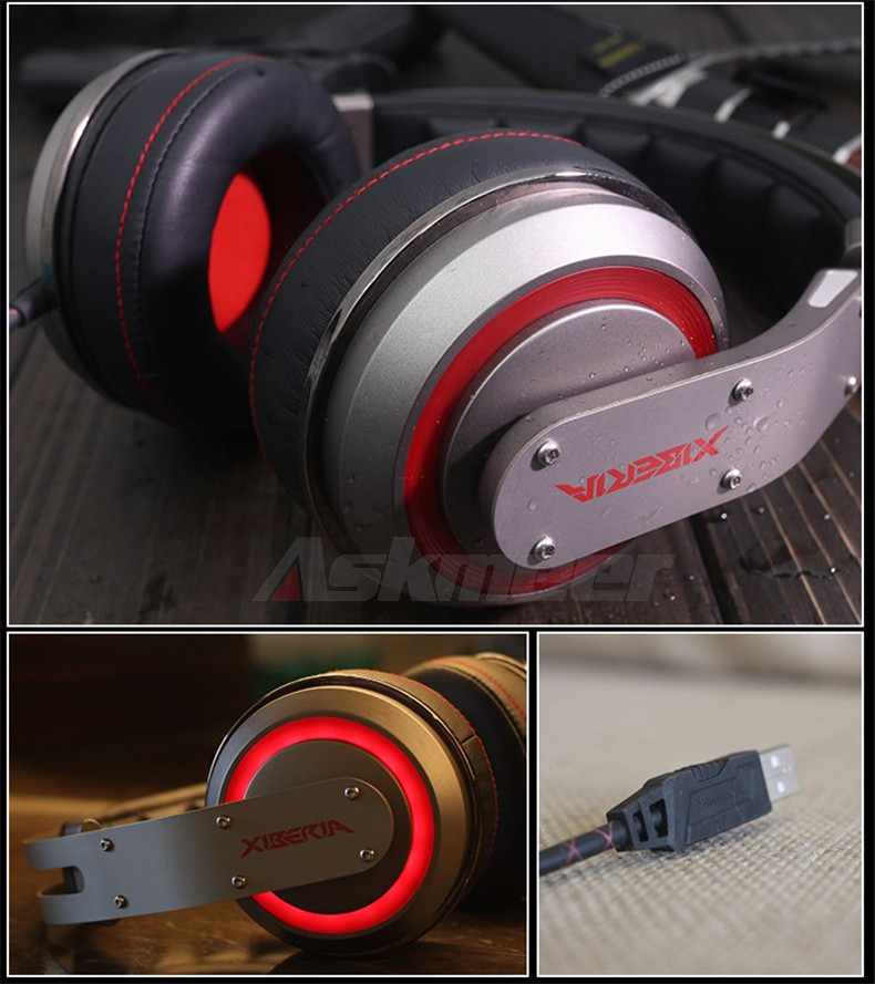 USB Gaming Headphones with Micrphone 7.1 Surround Sound Stereo Glowing Headset (9)