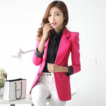 Female blazer 2016 New Spring and Autumn women's outerwear slim Solid color medium-long long-sleeve blazer Free shipping