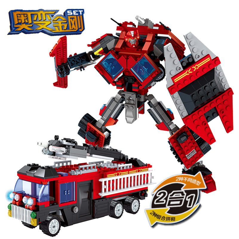 Ausini Model building kits compatible with lego city Fire engine Robot 2in1 1030 3D blocks Educational toys hobbies for children umeile original classic city engineering ladder truck fire engine model car block kids educational toys compatible with duplo