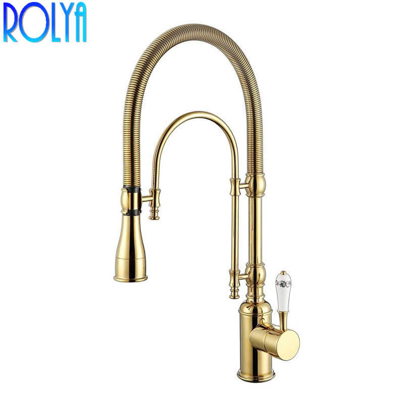 Rolya Pull Down Kitchen Faucet Golden / Chrome Rinse Laundry Sink Mixer Tap Spring Wholesale Premium Solid Brass Luxurious
