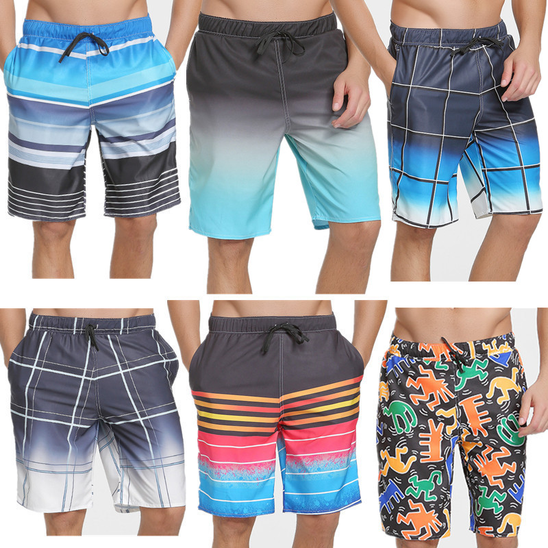 sbart The new tide summer beach pants mens surf shorts five flower dry add fertilizer XXXL travel pants