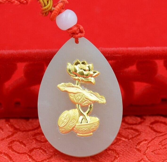 ᗗ999 24 K oro amarillo y un grado natural (Jadeíta) gotas de agua ...