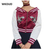WKOUD ציפורים נשים סתיו מעיל קצר מעילי בייסבול רקמת צוואר נטוי סקסי יבול שרוול ארוך מעיל לרכוס מוצרי הלבשה תחתונה C8001