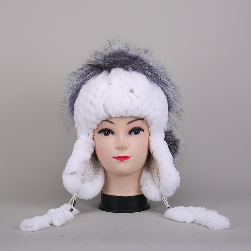 Women Knitted Real Rex Rabbit Fur Fox Fur On the Top Hat White Black Winter Warm Ear Protector Caps Female Fur Beanies mz031