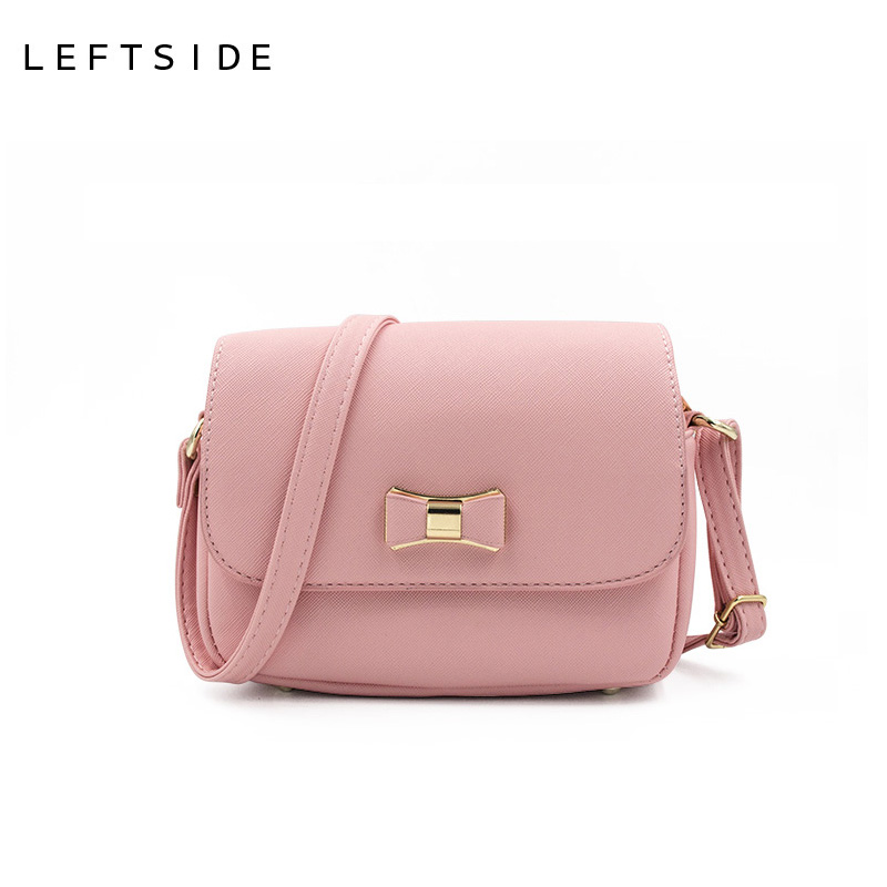 27db6fbbf635e LEFTSIDE Women Bag Bow Handbag PU Leather Women's Shoulder Crossbody Bags  Ladies Small Handbags Purse Bags Bolso Pink Black-in Crossbody Bags from  Luggage ...