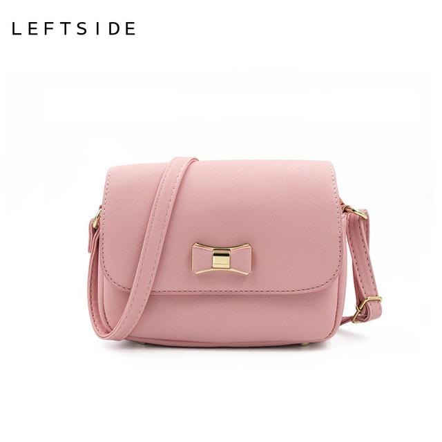 LEFTSIDE Women Bag  Bow Handbag PU Leather Women's Shoulder Crossbody Bags Ladies Small Handbags Purse Bags Bolso Pink Black