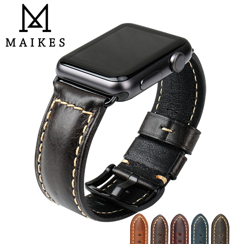 MAIKES Watch Accessories Watchband Black Oil Wax Leather Strap For Apple Watch Band 42mm 38mm Series 3/2/1 iWatch Wristband new arrival for apple watch band high quality wooden watchband black brown strap for apple watch band series 3 2 1 42mm 38mm