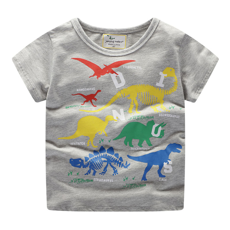 Jumping meters Kids Boys Girls Tees cotton children's <font><b>tshirts</b></font> <font><b>dinosaurs</b></font> print cartoon short-sleeved T-shirt 2019 boys girls tops image
