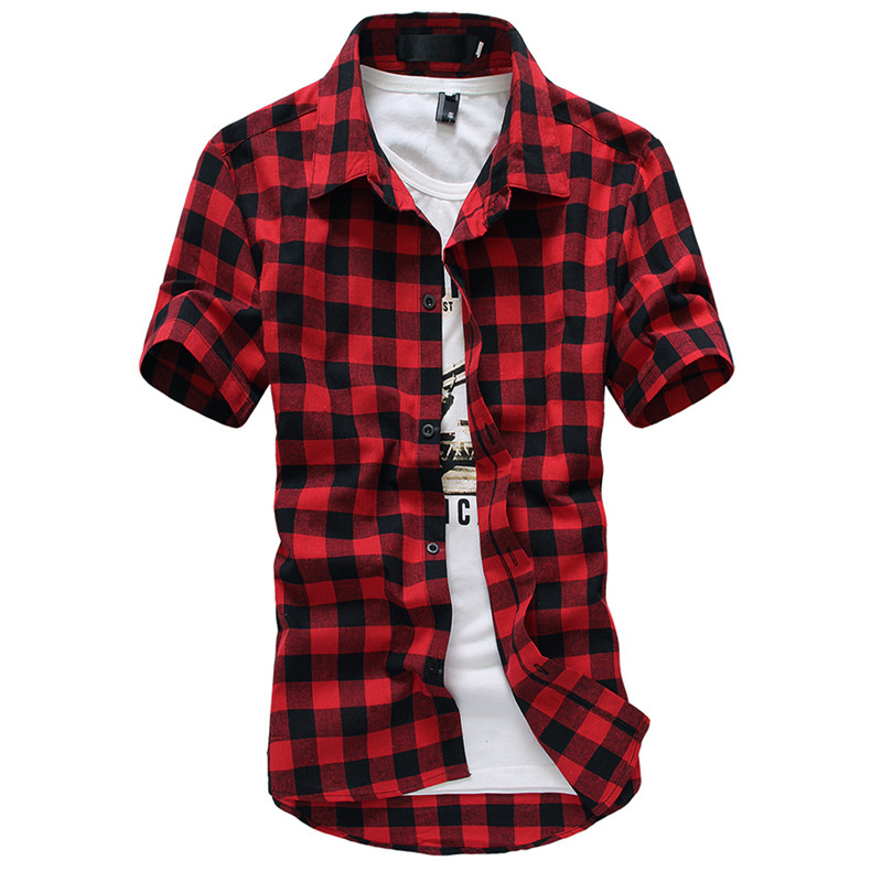 2020 Casual Design Plaid Shirt Men New Summer Style Chemise Homme Brand Clothing Slim Fit Fashion Social Shirts Men M-2XL