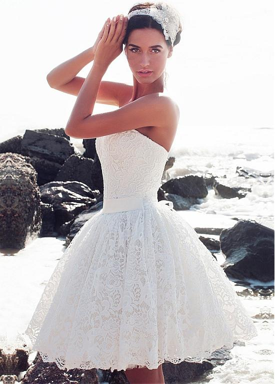 vintage lace knee length short wedding dresses strapless corset back informal reception bridal gowns ball gown brides dresses