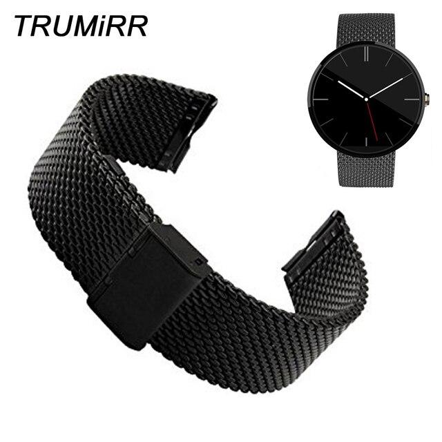 Milanese Loop Wrist Watch Band 22mm Stainless Steel Watchband Strap Bracelet for Moto Motorola 360 1 1st Gen 2014 Black Silver
