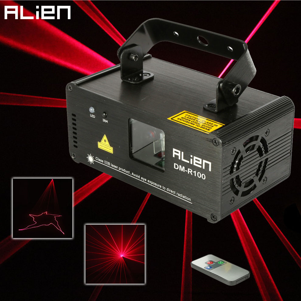 ALIEN Remote 100mw RED Laser Stage Lighting Effect DMX 512 Scanner Stage Light Laser Projector DJ Disco Party Show Lights alien 300mw rgb stage lighting effect dj disco party home wedding laser projector light xmas remote laser system show lights