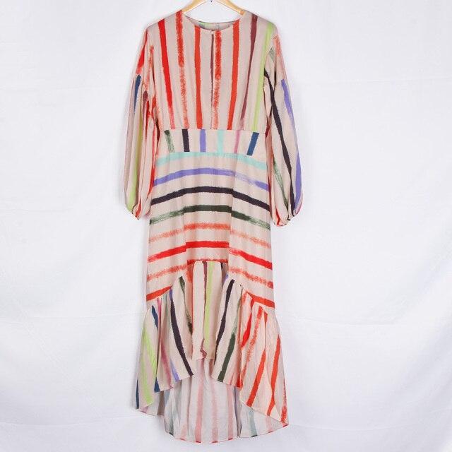 Mains dor nouveau Design Unique Sexy fête Maxi robe asymétrique rayé mode tenue décontractée volants manches papillon robes