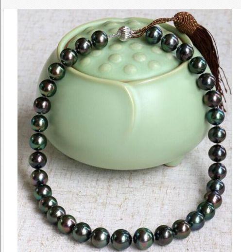 Stunning 10-11mm dacqua dolce rotondo pavone perla verde necklace19 925 argentoStunning 10-11mm dacqua dolce rotondo pavone perla verde necklace19 925 argento