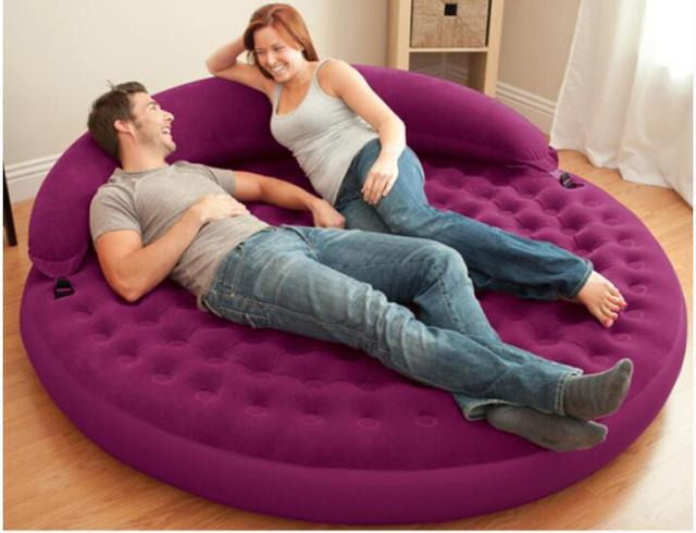 191 53cm Inflatable Flocking Sofa Bed Living Room Round Air Mattress With Backrest