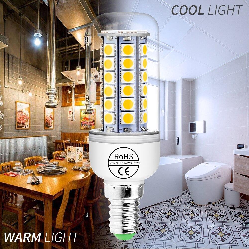 Купить с кэшбэком E14 LED Corn Lamp Bulb 220V 5050 SMD Lampara Led 3W 5W 7W 9W Bombillas LED E27 Energy saving Light Bulb For Home 24 30 36 48leds