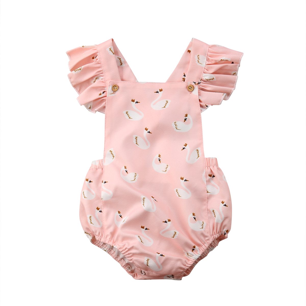 Cute Baby Girl Swan Print Buttons Ruffle Sleeve Blackless Bubble Romper Jumpsuit contrast halter and binding layered ruffle bodice jumpsuit
