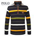 Royal Queen's brand 2017 in spring Autumn New business Cotton Striped long sleeved T-shirt slim collar men's T-shirt leisure