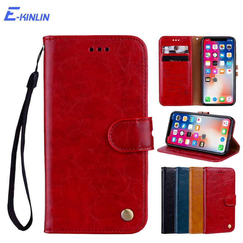Oil Wax Leather Flip Case Wallet Protective Cover With Card Slots Stand Holder For iPhone 8 7 6 6S Plus X 10 Ten 5 5S SE