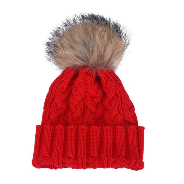 Women Winter Crochet Hat Faux Fur and Wool Knitted Beanie Raccoon Warm Lady Soft Hat adult lady natural real beanie hat fox fur pompon warm winter hats adult beanies crochet wool fur ball winter knitted hat