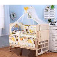 3 grade adjust baby bed with wheels, no paint baby crib with bedding set, can joint with adult bed, can be rocking cradle