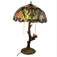 High End Vintage Colorful Tiffany Handmade Dragonfly Table Lamp for Foyer Apartment Bar Bed Room Reading Light H 66cm 1018