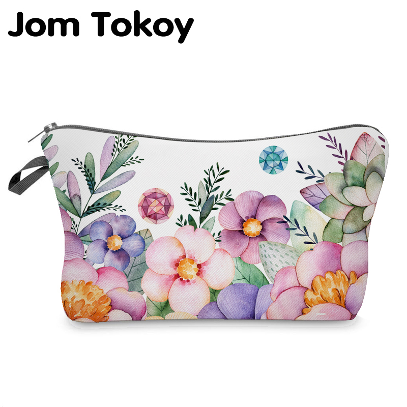 Jom Tokoy Cosmetic Organizer Bag Make Up Flowers 3D Printing Cosmetic Bag Fashion Women Brand Makeup Bag
