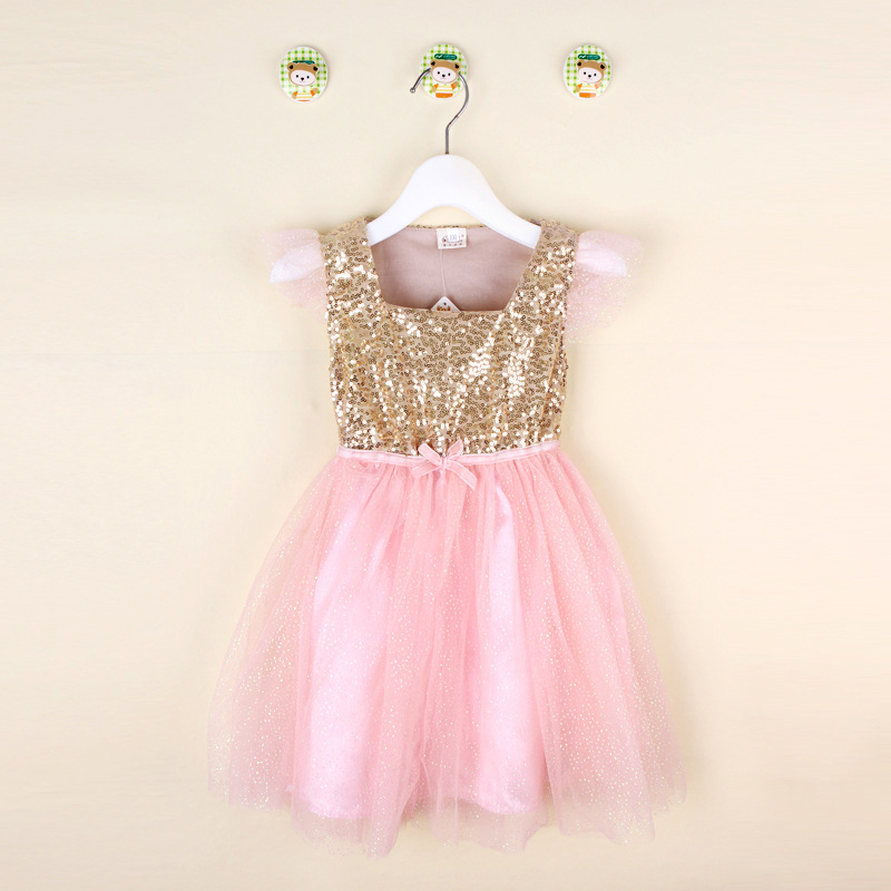 Hot Girls Gold Sequin Chiffon Tutu Dress Baby Summer Short
