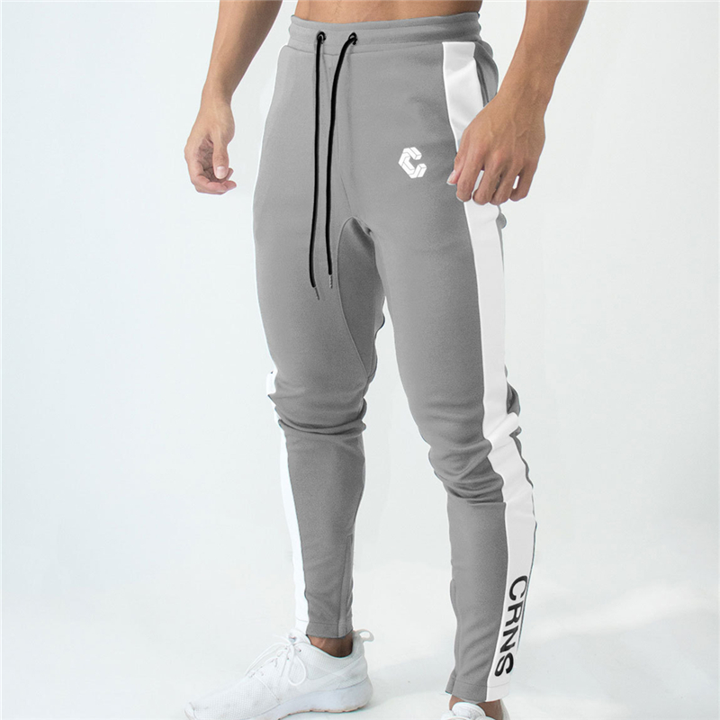 Mens Joggers Track Pants Gyms Fitness Stitching Zipper Ankle Skinny  Sweatpants Trousers Male Brand Pants Men