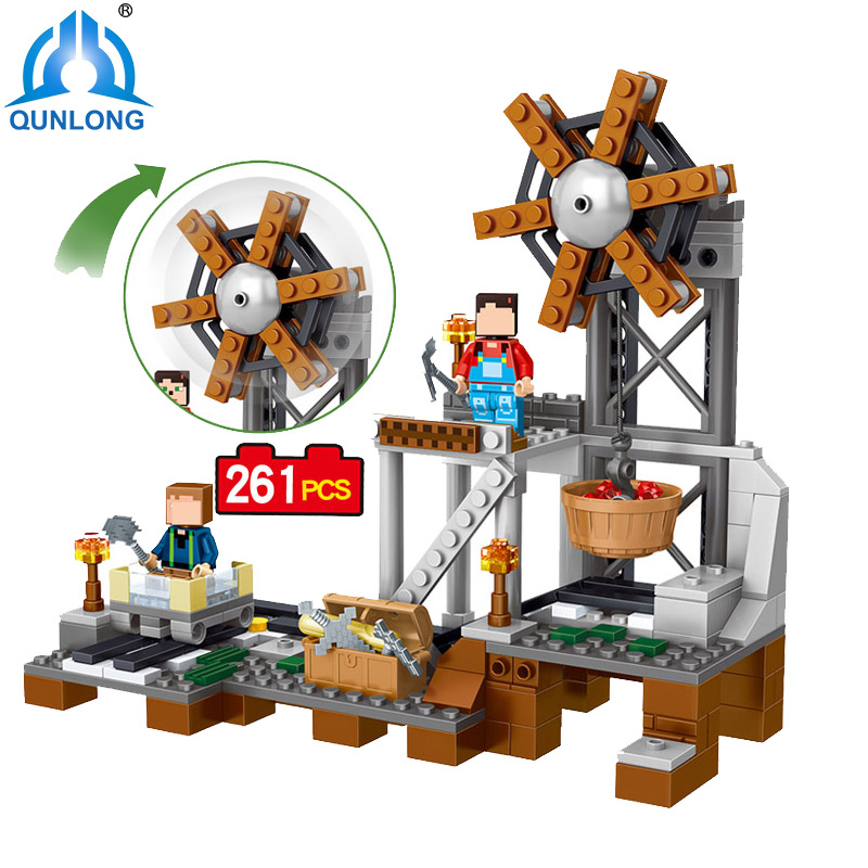 qunlong 0515 My World Minecrafted Mine Building Blocks Toy Compatible Legoe Minecraft Building Block City Educational Boy Girl mine boy