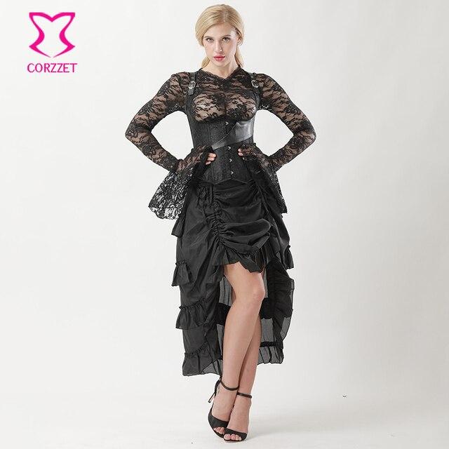 0e2405c12d Corzzet Black Jacquard Steel Boned Underbust Corset Dress Sexy Rluffy Skirt  Burlesque Women Costume Steampunk Victorian