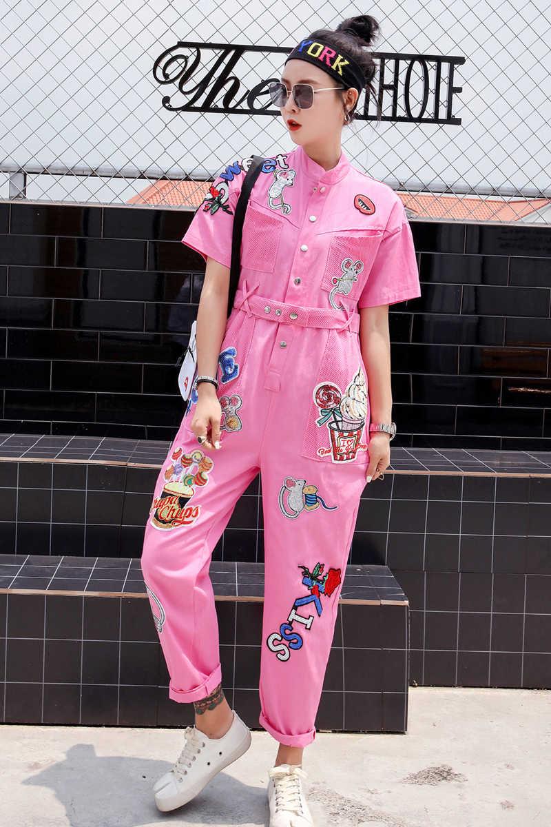 Тайская уличная мода хип-хоп ветер блестящие буквы комбинезон с вышивкой возраст получения талии была тонкая мода джинсовые комбинезон женщин
