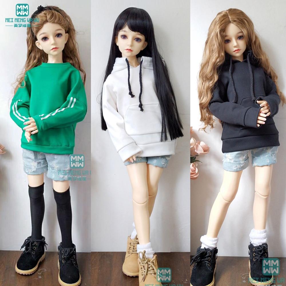 BJD Doll Clothes For 1/3 BJD SD DD Doll Leisure Hooded Sweatshirt Black White Green Denim Shorts