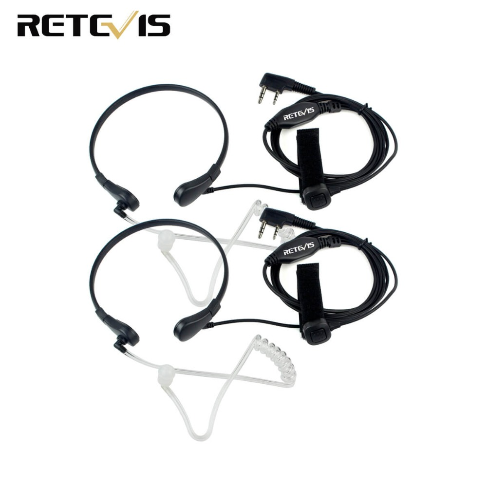 2pcs Throat Mic PTT Earpiece For Kenwood BAOFENG UV-5R Baofeng BF-888S Retevis H777 Retevis RT3 RT-5R TYT Ham Radio C9007A