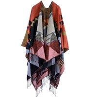 Nouveau design de la marque Bohème gland écharpe pashmina de femmes hiver chaud Foulards châles femelle long épaississent sauvage cape poncho femmes