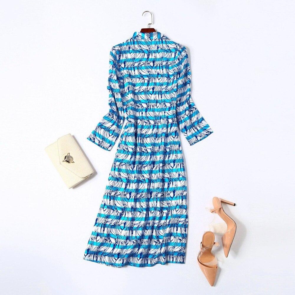 Automne Vêtements Mode Nouveau Baissez Luxe Robe De Haute Imprimé Piste Qualité Cou Marque Robes 2018 Femmes U0ZfwqtU