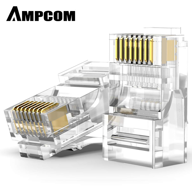 AMPCOM RJ45 Modular Plug Connector UTP 50U Gold-Plated 8P8C Crimp End for Ethernet Cable, Bulk Ethernet Cable Connector for CAT6