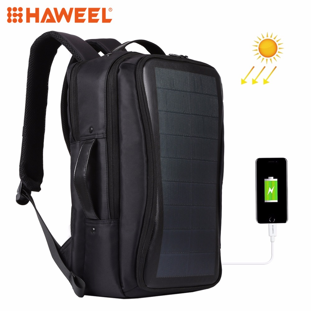 HAWEEL Outdoor Solar Backpack Bags Flexible Solar Panel 14W Power Backpack Laptop Bag+Handle+USB Laptop Tablet Bags